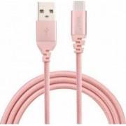 Cablu de date Tellur USB - Type-C Kevlar 1m Roz-auriu
