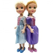 Emob 2 Pretty Sisters Dolls with Beautiful Long Hairs and Fashion Accessories (Multicolor)