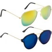 NuVew Aviator, Round Sunglasses(Golden, Blue)