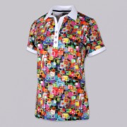 Women's Polo t-shirt 9461 with pattern colorful squares