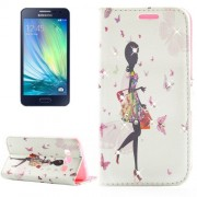 Fashion Lady Pattern Diamond Encrusted Horizontal Flip Leather Case with Holder & Card Slots for Samsung Galaxy A3 / A300F
