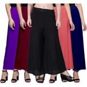 Jakqo Women's Bottom Wear Synthetic Palazzo Pants (Free Size Pack of 5 Dark Purple Maroon Black Peach Pink Navy Blue)