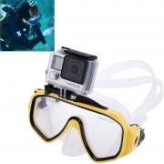 Matériel de plongée sous-marine Masque de plongée Lunettes de natation avec mont pour GoPro Hero 4 / 3+ / 3/2/1 (Jaune)