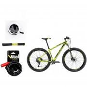 Paquete Bicicleta Alubike XTA TEAM R29 Verde Bomba,Timbre ,Candado