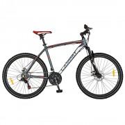Bicicleta adulti MTB-HT 26 inch CARPAT Wrangler, cadru aluminiu, 21 viteze, culoare gri/rosu