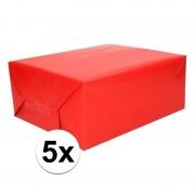Shoppartners 5x Kadopapier rood 200 x 70 cm op rol