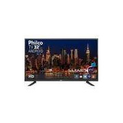 Smart TV LED 32 Philco PTV32E20DSGWA HD com Conversor Digital 2 HDMI 1 USB Wi-Fi Midiacast 60Hz - Preta