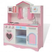 vidaXL Детска играчка - Кухня, дърво, 82x30x100 см, розово и бяло