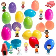 Coolinko 12 Colorful Easter Egg with Peanuts Cartoon Figurines - Charlie Brown, Snoopy, and Woodstock to Delight All Ages Ready Fill, Hide Enjoy Perfect As Kids Party Favors Cake Topper