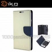 Funda IKO Samsung S4 Wallet Blanco/Azul