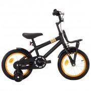 "vidaXL Bicicleta criança c/ plataforma frontal roda 14"" preto/laranja"