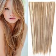 Clip in vlasy - 60 cm dlouhý pás vlasů - odstín (F613/12 (melír beach blond v karamelově hnědé)) - Světové Zboží
