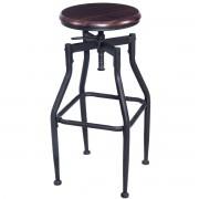 Giantex New Vintage Bar Stool Metal Design Wood Top Height Adjustable Swivel Bar Chair Industrial Style Bar Furniture HW52162