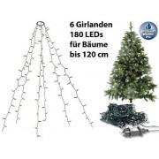 Weihnachtsbaum-Überwurf-Lichterkette mit 6 Girlanden & 180 LEDs, IP44   Lichterkette