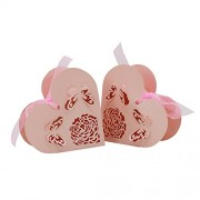 MagiDeal Pack of 50pcs Wedding Party Favors Baby Shower Paper Love Heart Shape Candy Gifts Boxes with Ribbon - pink