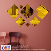Look Decor-7 Decorative-(Golden-Pack of 7)-3D Acrylic Mirror Wall Stickers Decoration for Home Wall Office Wall Stylish and Latest Product Code Number 954