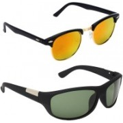 Royalmede Clubmaster, Wrap-around Sunglasses(Multicolor, Green)