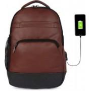 Fur Jaden Anti Theft Brown Leatherette Waterproof Laptop Backpack 28 Laptop Backpack(Brown, Black)