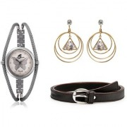 Arum Latest Combo Of Butterfly Watch With Fashion Earrings And Brown Belt ALC-010