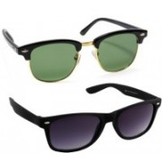 HE Wayfarer, Rectangular Sunglasses(Green, Black)