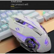 Con Cable De Luz LED 4000DPI Gaming Mouse Sin Sonido - Blanco