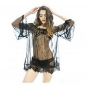 Boat Neck Lace Gauze Perspective Night Dress Braces Skirt + Lace Underpants Black