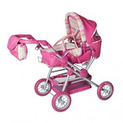 Knorrtoys Knorr Toys Knorr10838 Twingo S Combi Pink Stripe Doll Pram and Buggy