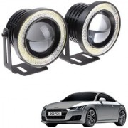 Auto Addict 3.5 High Power Led Projector Fog Light Cob with White Angel Eye Ring 15W Set of 2 For Audi TT