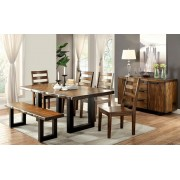 6 pc maddison collection contemporary style tobacco oak finish wood dining table set