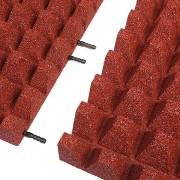 Červená gumová krajová dopadová dlaždice (V65/R50) FLOMA - délka 50 cm, šířka 25 cm a výška 6,5 cm