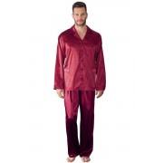 Charles férfi szatén pizsama, borszín 3XL