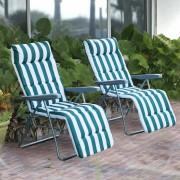 Outsunny Pack de 2 Tumbonas Acolchadas Plegables y Reclinables con Reposapiés para Playa o Camping - Acero - 60x73x102cm
