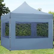 Intent24.fr Tente pliante 3x3m PES 300 g/m² gris imperméable barnum pliant, tonnelle pliante
