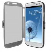 Samsung Galaxy S3 Iii I9300 I9305 4g : Coque Etui Housse Pochette Silicone Gel Format Livre Rabat Couleur Gris + Film D'écran