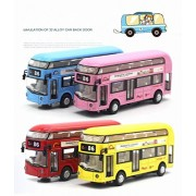 LYhopes 1:50 Scale London Double Decker City Air-Conditioned Bus Diecast Metal Model Pull Back Alloy Toys With Light & Sound For Kid- Random Color