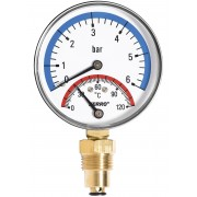 Termomanometru 80mm 1/2 0-6 bar 120°C, montaj radial