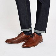 River Island Mens Dark Brown leather brogues (Size 40)