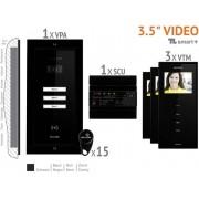 Bellcome VKM.P3FR.T3S4.BLB04 Video-deurintercom Kabelgebonden Complete set voor 3 gezinswoning Zwart