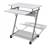 vidaXL Computer Desk Pull Out Tray White Furniture Office Student Table