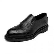 XIANGBAO-Personality -Personalidad Zapatos de Cuero de la PU de los Hombres Simples Clásico Slip-on Decoración de la Borla Transpirable Formal de Negocios Suela Forrada Oxfords (Color : Negro, tamaño : CN27)