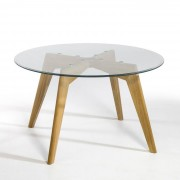Ronde tafel in glas en eik Ø130 cm, Kristal