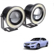 Auto Addict 3.5 High Power Led Projector Fog Light Cob with White Angel Eye Ring 15W Set of 2 For Honda Accord