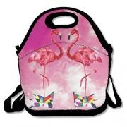 Large Reusable Picnic School Food Lunch Bags Case Box Handy Shoulder Bag Portable For Low Poly Flamingos Double Cute Flamingo