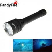 Fandyfire XM-L2 LED 5000lm 3-Mode linterna de buceo blanco frio - negro