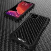R-JUST ShocKproof Carbon Fiber Texture Silicone + Metal Hybrid Case for iPhone 11 6.1 inch (2019) - All Black
