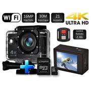 Desconocido Cámara SJ Pro 4K WiFi + Micro SD 16GB Deportiva Y Acuática 60FPS HD 16MP Pantalla LCD HD 2