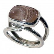 Metro Mod Man Botswana Agate US 13 UK Z 1/2 Ring MR-BA213