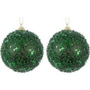 Merkloos 2x Donkergroene glitter/glimmer kerstballen 8 cm kunststof - Kerstbal