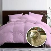 Pilota matlasata umpluta cu lana pentru iarna damasc Roz 180x210 cm