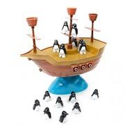 Childplaymate DIY Pirate Boat Balancing Game Penguins Balance Interactive Table Game Kits